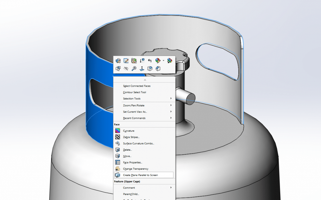 Using SOLIDWORKS to create a parallel plane using the displayed orientation