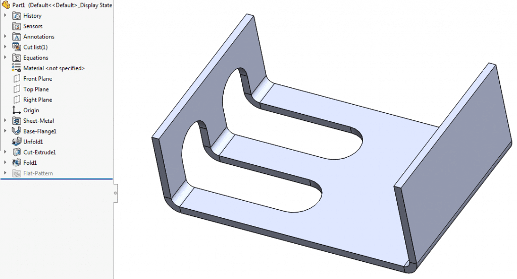 Unfold sheet metal body to add cuts across bends
