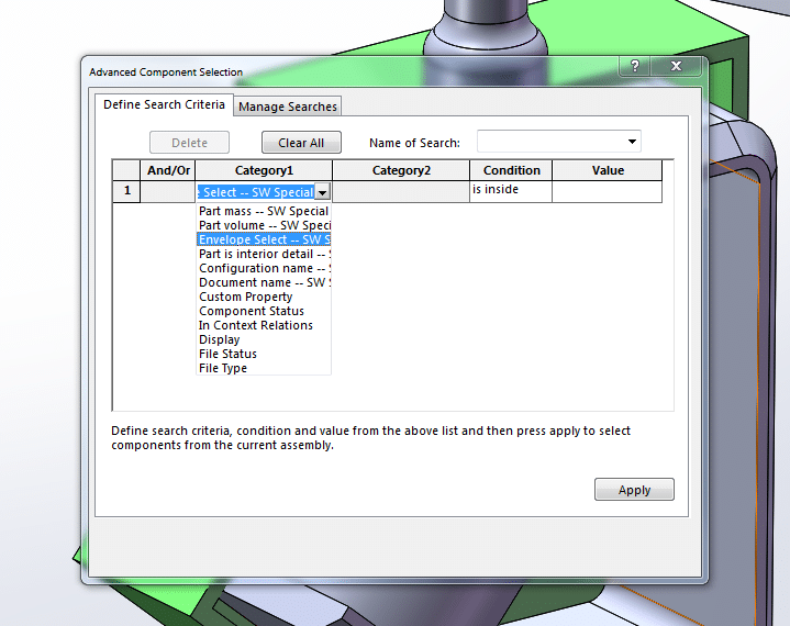 solidworks advanced select components within envelopes