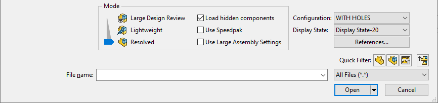 open modes solidworks 2020