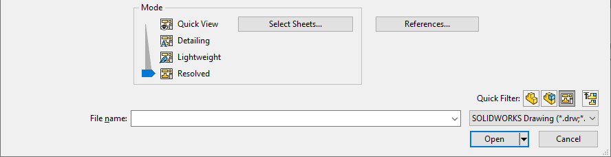 drawing open modes