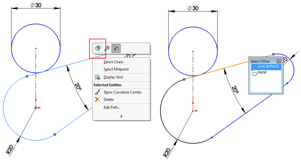 solidworks select single line in path