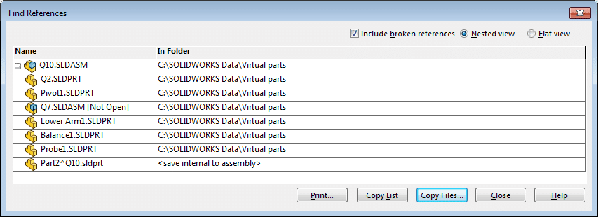 solidworks virtual part find references