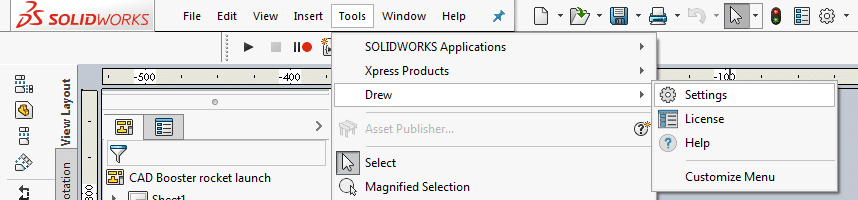SolidWorks drawing macro settings