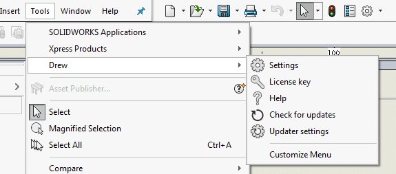 SOLIDWORKS updater settings