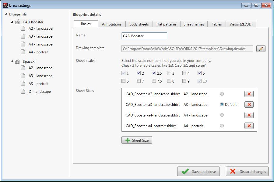 Drew settings Blueprint details