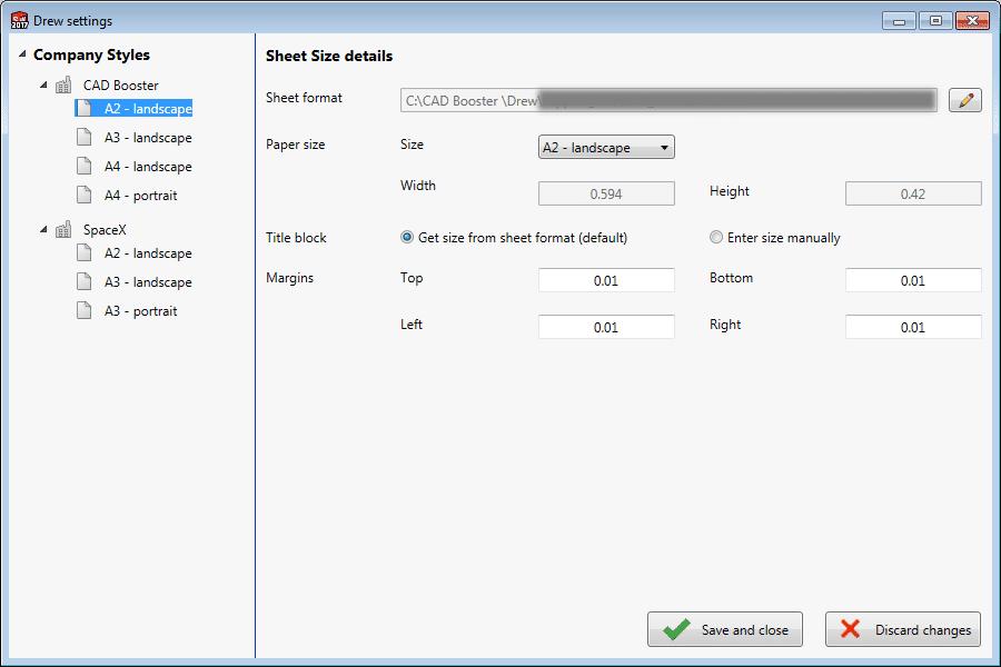 Drew settings Sheet Size details