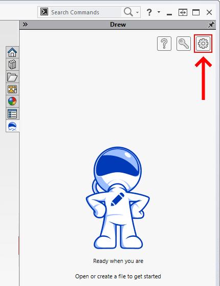 open Drew settings from task pane