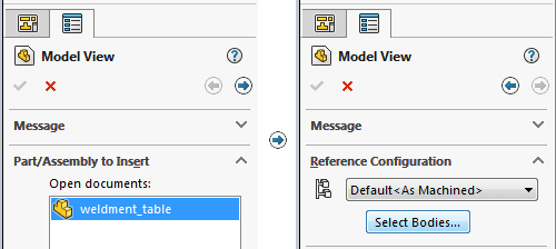solidworks model view select bodies