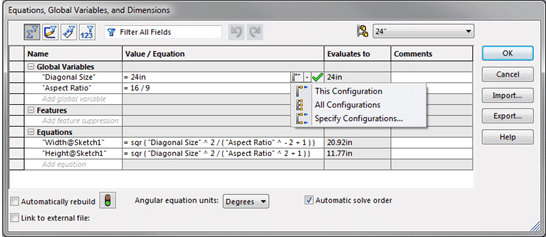 solidworks equations menu