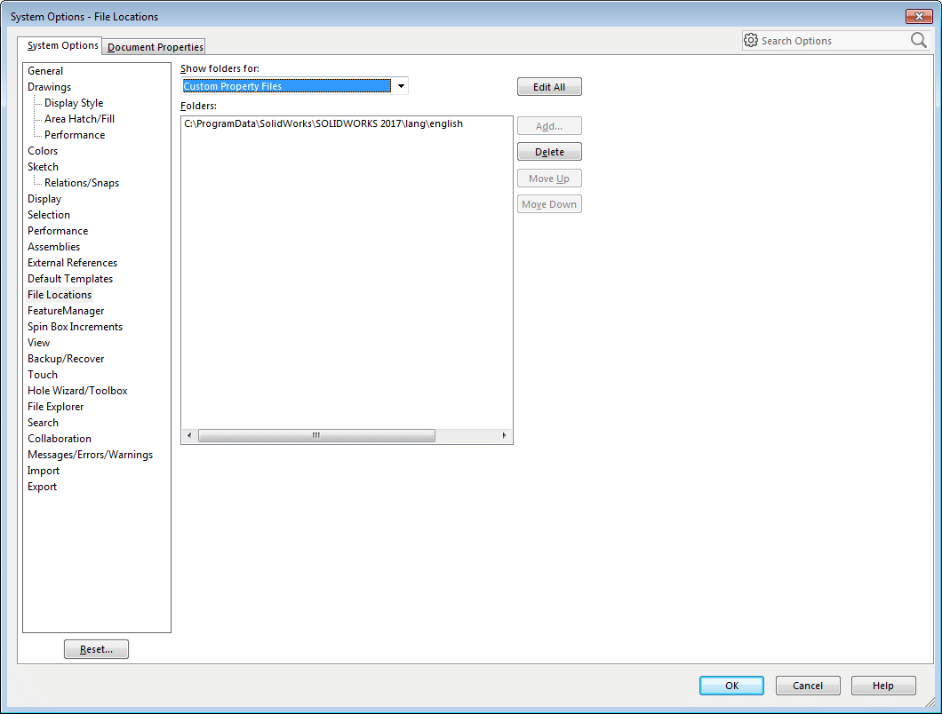 solidworks properties.txt cannot be located file location