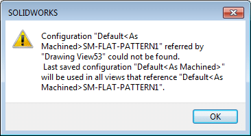 solidworks configuration could not be found flat pattern