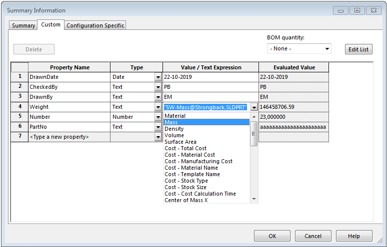 select variable for custom property value