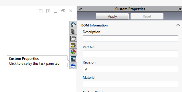 solidworks property tab