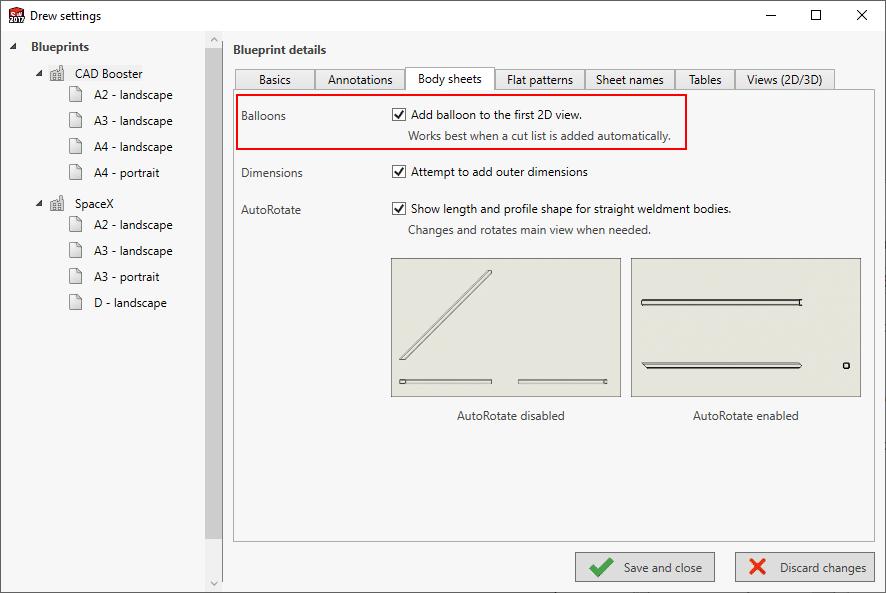 Drew add bom cut list balloon automatically