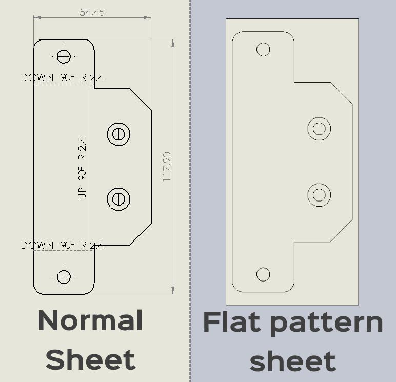 flat pattern bend notes, bend lines, center marks