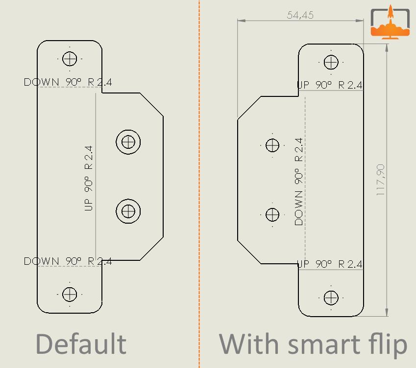 flat pattern smart flip bends up
