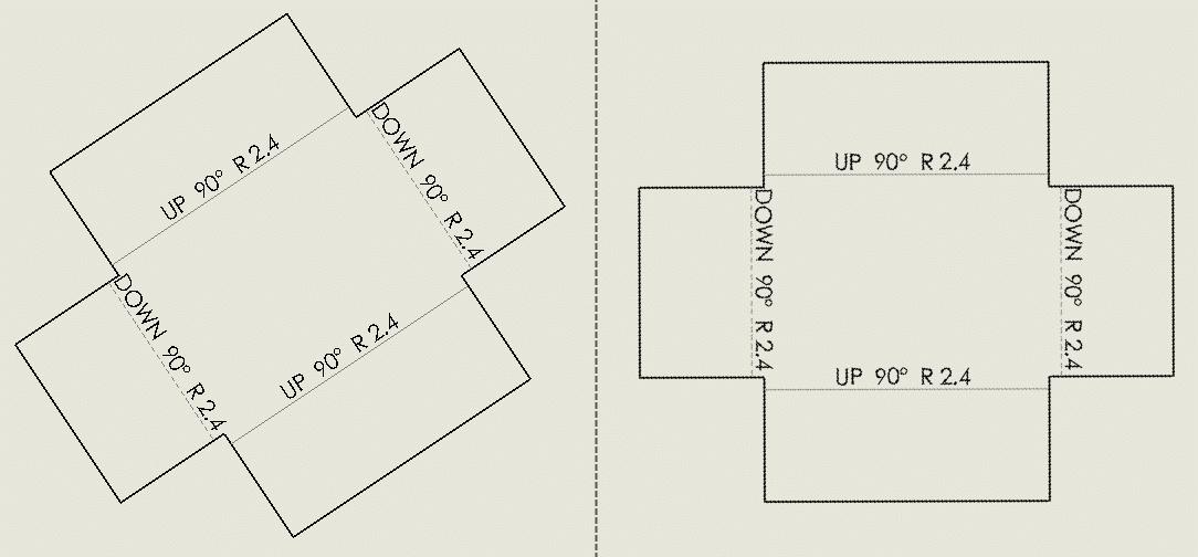 flat pattern rotate bounding box automatically