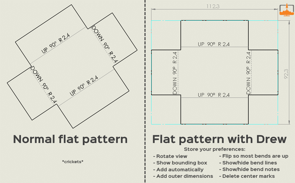Drew settings for flat pattern and sheet metal parts