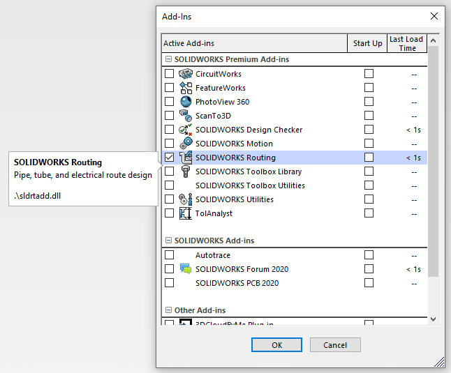 enable solidworks routing add-in