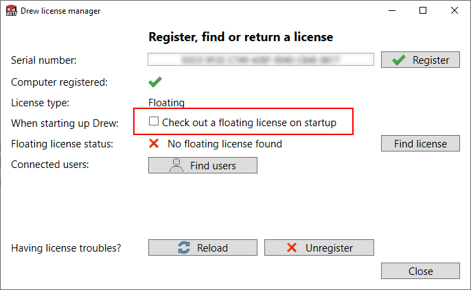 drew disable check out license on startup