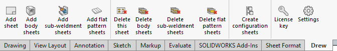 toolbar body sheets flat patterns configuration copy