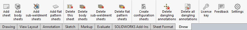 Drew batch toolbar for body sheets and flat patterns