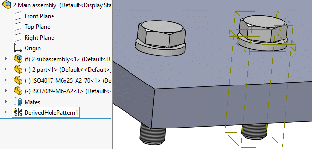 solidworks fasteners automatic derived pattern