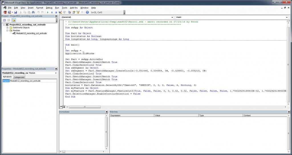VBA editor window solidworks