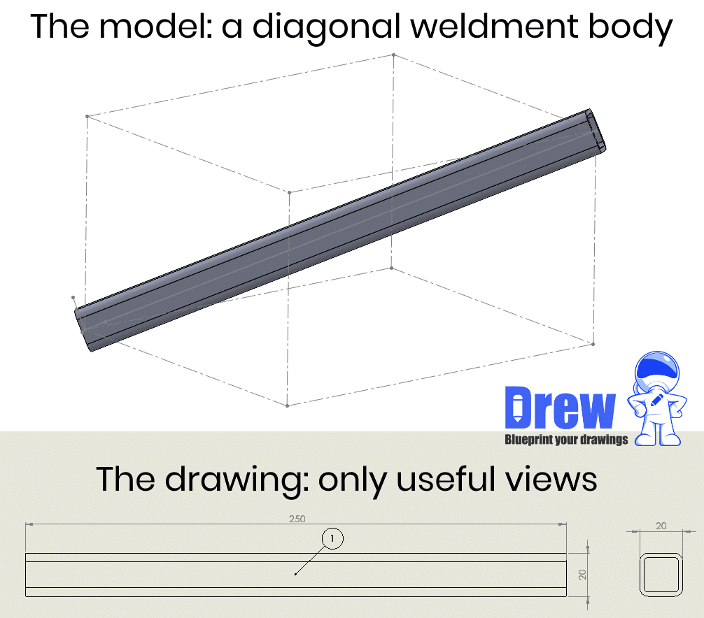 solidworks 3D weldment body view